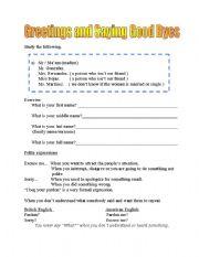 English Worksheets: Greetings and Goobyes