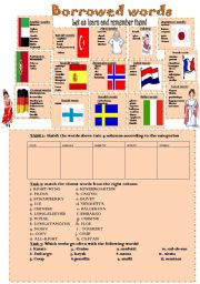 English Worksheets: BORROWED WORDS FROM OTHER LANGUAGES
