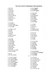 picture regarding Printable List of Prepositions referred to as English worksheets: The Listing of Phrase Combos with