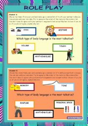English Worksheets: Role play and writing - Body language *** advanced