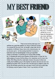 English Worksheet: MY BEST FRIEND ( reading and writing for beginners, young learners)