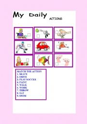 English Worksheet: MY DAILY ACTIONS