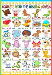 English Worksheet: ANIMALS- COMPLETE WITH THE MISSING VOWELS (B&W VERSION INCLUDED)