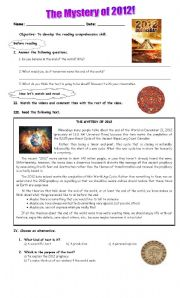English Worksheet: The mystery of 2012