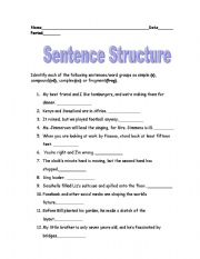 English Worksheet Sentence Structure