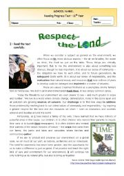 English Worksheet: The Environment  -  Respect the Land