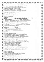 English Worksheets: Mine - Taylor Swift