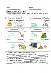 past tense - weather and activities