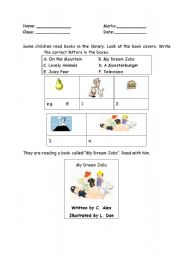English worksheet: Reading - book cover