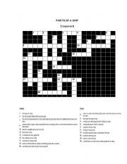 English worksheets: parts of a ship crossword