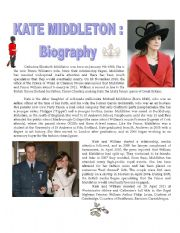 English Worksheets: KATE MIDDLETON�S BIOGRAPHY