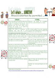 English Worksheets: Let�s debate ... Abortion