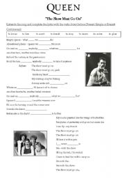 English Worksheets: Queen - The Show Must Go On (Song Activity)