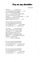 English Worksheets: cry on my shoulder lyrics