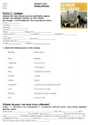 Slumdog millionaire vocabulary and grammar worksheet