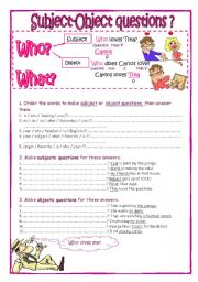 English Worksheet: Subject-Object questions