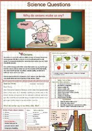 English Worksheets: Why do onions make us cry?       Science Questions. 11