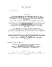 English Worksheet: Song Worksheet