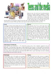English Worksheet: Teens and the media