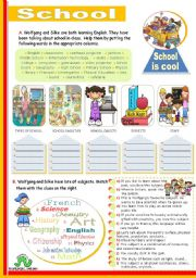 English Worksheet: School  -  Vocabulary Input