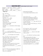 SKATER BOY song worksheet