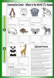 English Worksheet: Conversation Corner - Where in the World (7): Animals