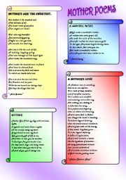 English Worksheet: SOME MOTHER POEMS