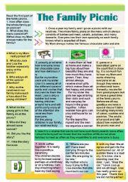 English Worksheet: The Family Picnic