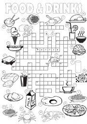 food crossword drinks crosswords worksheets vocabulary worksheet english eslprintables