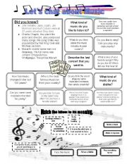 English Worksheets: Let�s chat about MUSIC