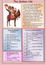 English Worksheets: The donkey ride