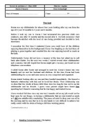 English Worksheet: end of term test 2  2nd form