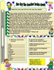 English Worksheets: the day the teacher broke down