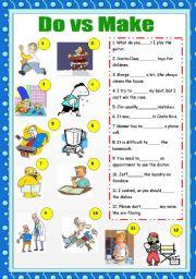 English Worksheet: Do vs Make + answer key
