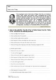 English Worksheet: Edgar Allan Poe «The Black Cat» 1
