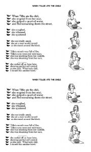 English Worksheets: When Tillie Ate the Chilli - Poetry