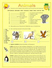ANIMALS AND THEIR BODY PARTS - ESL worksheet by Blizh