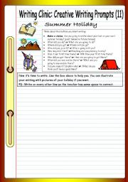 English Worksheet: Writing Clinic - Creative Writing Prompts (11) - Summer Holiday
