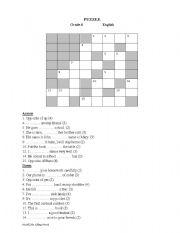 English worksheet: Crossword puzzle