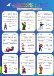 English Worksheet: DESCRIBING PEOPLE - VERBS TO BE/ HAVE GOT