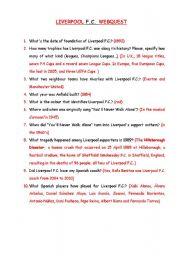 English Worksheet: Liverpool F.C. Webquest
