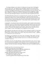 English Worksheets: The Mayan civilization