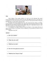 English Worksheets: Reading Comprehension and practice Composition
