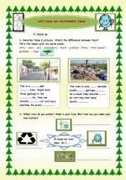 esl worksheets for beginners let s keep our environment clean. Black Bedroom Furniture Sets. Home Design Ideas