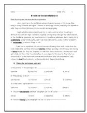English Worksheets: Reading passage and some questions about it