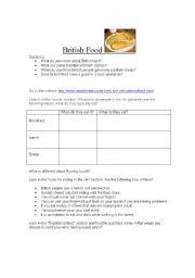 English Worksheet: British Food webquest