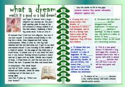 English Worksheets: what a dream