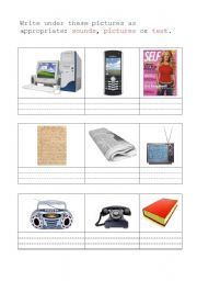 English Worksheet: Means of communication: pictures, sounds or text