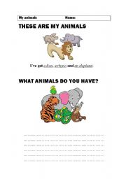 English Worksheets: I�ve got ................ These animals!