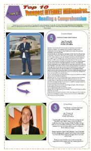 English Worksheet: JOBS - READING ACTIVITY (3 pages) - TOP 10 YOUNGEST INTERNET MILLIONAIRES + Activities and Texts for reading Part  2 of 2